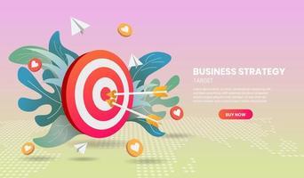 Geschäftsstrategiekonzept mit Pfeil und bunten Elementen vektor