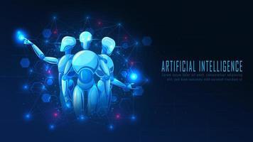 futuristisches ai roboterkonzept mit virtuellem wissen vektor