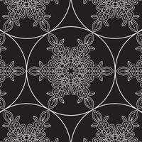 Weiß auf schwarzem Mandalamuster vektor