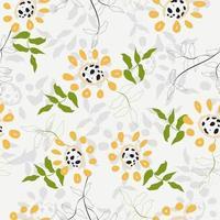 gelbes Gekritzelblumenmuster vektor