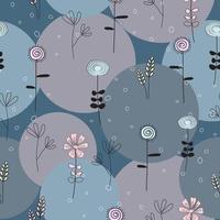 abstrakt blågrå och rosa sömlös blommönster och cirkelmönster