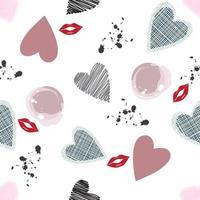 romantiskt mönster med hjärtaformer och läppar