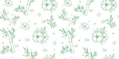 nahtloses Muster aus grünem und weißem Bambus und Blumen vektor
