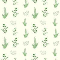 nahtloses Muster des botanischen Blattes und der Blume vektor