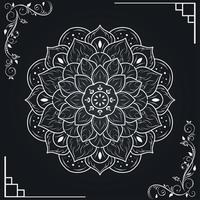 weißes Mandala und Blumenrahmenrand vektor