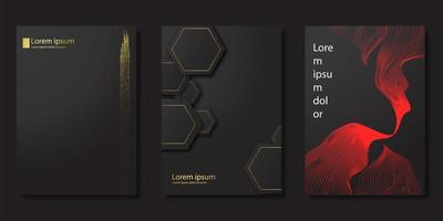 schwarzes Luxus-Cover-Set im modernen Stil vektor