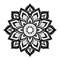 tjock svart blommig mandala på vitt