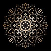 Blumenmandala mit goldenem Umriss, vektor