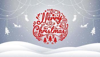 Winterszene mit Frohe Weihnachten Kalligraphie und Dekorationen