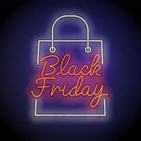 neon svart fredag shoppingväska tecken vektor