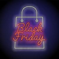 neon svart fredag shoppingväska tecken