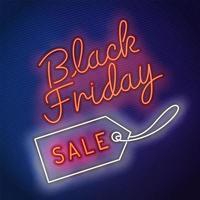 Neon Black Friday Sale Tag Zeichen