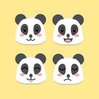 niedliches Cartoon Panda Head Set vektor