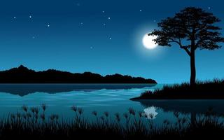 lugn natt vid floden vektor
