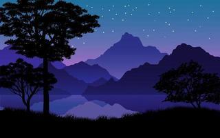 berg och sjö vid stjärnklar natt