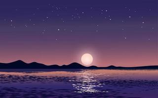 fullmåne och stjärnor vid sjön