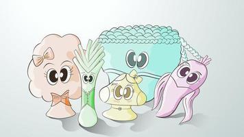 Shabu-Gemüsesammlung im Cartoon-Stil
