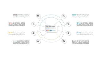 Farbe verbunden Linie und Kreissymbol Infografik vektor
