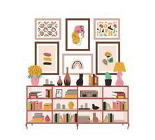 skandinavisches Bücherregal mit Büchern und Zimmerpflanzen