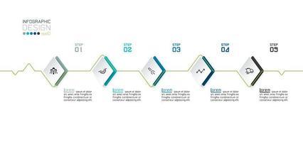 Infografik Design mit Diamantformen und Linie vektor