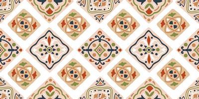 handritad sömlös tribal mönster i brunt, blått, grönt