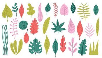 Satz bunte tropische Pflanzen und Palmblätter