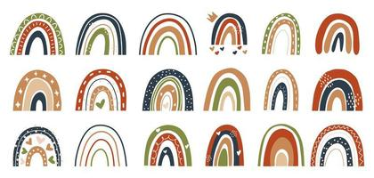 skandinavisk stil handritad regnbåge, röd, grön, vektor