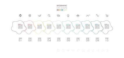 bunte abstrakte Umrissform Zeitleiste Infografik vektor