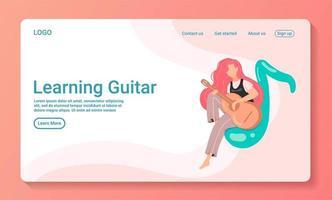 kvinna sitter på anteckningen spelar gitarr webbmall vektor