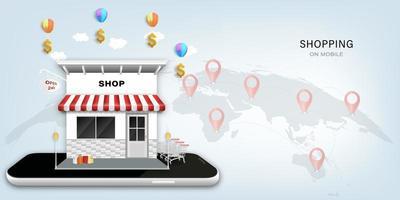 mobil butik koncept vektor