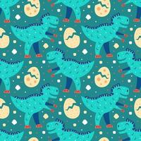 kleines süßes blaues T-Rex und Eier nahtloses Muster