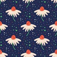lilla vita blommor sömlösa mönster