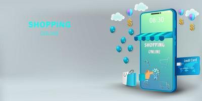 shoppa online på mobilkoncept vektor