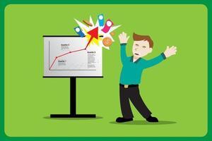 affärsman som känner sig lycklig under framgångsrik presentation vektor