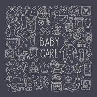 Babypflege niedliches handgezeichnetes Gekritzel-Set vektor