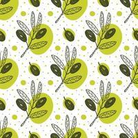 Olivenfrucht, Zweig Hand gezeichnet nahtloses Muster. vektor