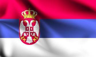 Serbien 3d Flagge vektor
