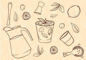 Freie Hand gezeichnete Caipirinha Set