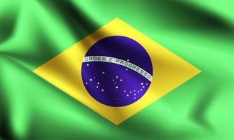 Brasilien 3d flagga vektor