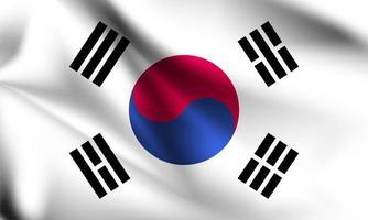 Sydkorea 3d flagga på nära håll vektor