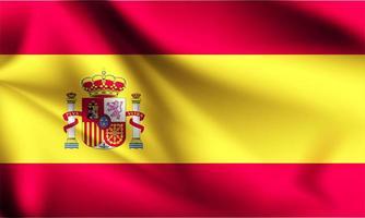 spanien 3d flagga på nära håll vektor