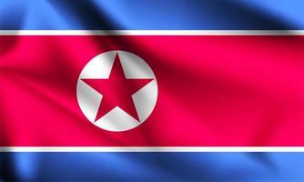 Nordkorea 3d Flagge vektor