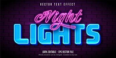 Nachtlichter Neon-Texteffekt vektor