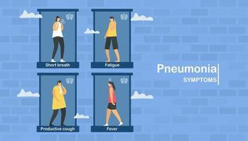 lunginflammationssymtom inkluderar kort andedräkt vektor