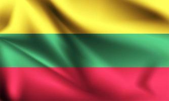 litauische 3d Flagge vektor