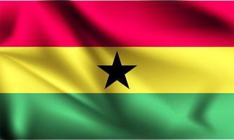 Ghana 3d Flagge winkt vektor