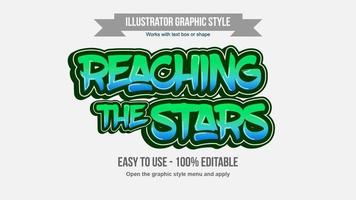 bearbeitbarer Textstil des grünen und blauen fetten Pinselgraffitis vektor