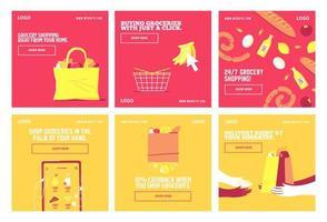 Shop Lebensmittel Lieferung Social Media Post vektor