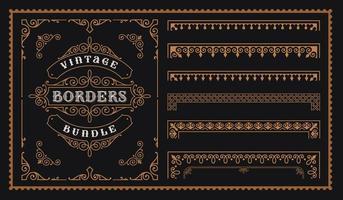 Satz Vintage-Bordüren im viktorianischen Stil. vektor