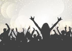 Partypublikum auf einem Bokeh beleuchtet Hintergrund